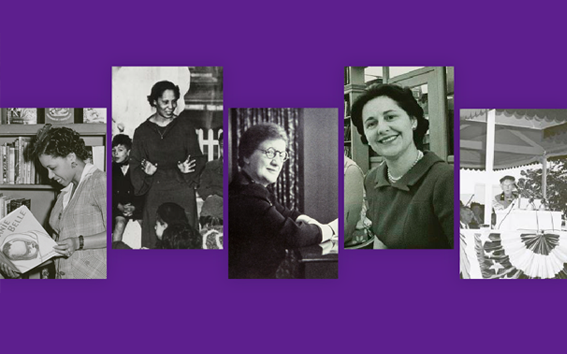 Black and white images of librarians against purple background.